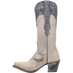"""Ole Shiver Me Timbers"" Distressed White & Grey V Cut Front Cowgirl Boots (DS)"