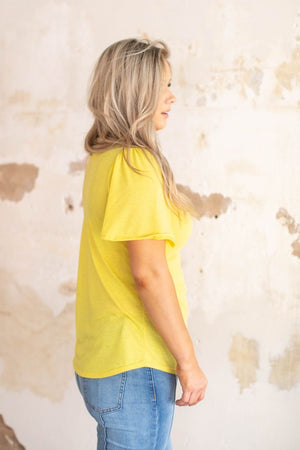 """Ole Flutter Sleeve"" Scoop Neck Basic Tee ~ Sunflower Yellow/Ash"