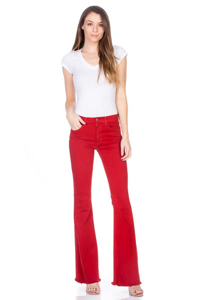 """I'm Seein' Red"" Bright Red Denim Bell Bottom Flare Jeans"