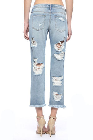 """Ole Long Gone"" Super Distressed Denim Boyfriend Jeans ~ FINAL SALE"