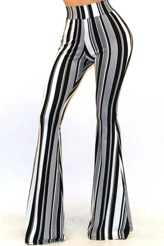 """Ole Abbey Road"" Black & White Stripe Bell Bottoms"