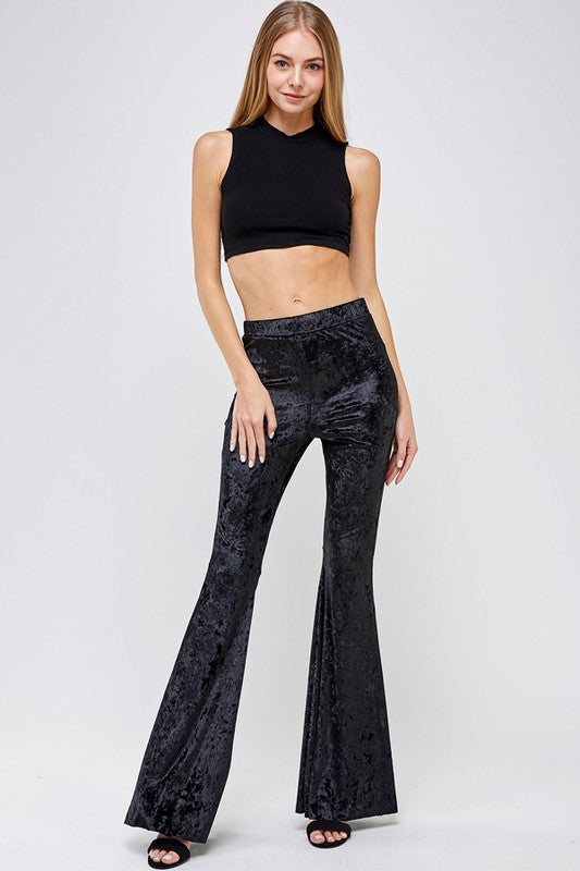 """Ole Sweet Blackberry Wine"" Black Crushed Velvet Bell Bottoms"