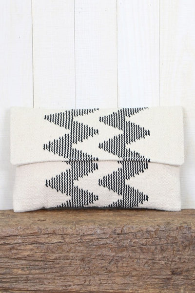 """Ole Remy Remy"" Stone & Black Woven Chevron Stripe Clutch"
