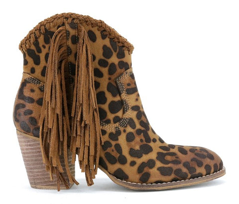 """On The Cat Walk"" Leopard Suede Fringe Booties"