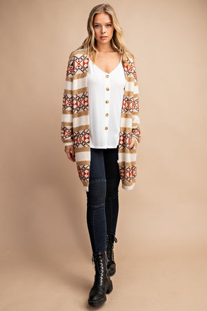"""Ole Grand Canyon"" Fuzzy Angora Aztec Print Sweater Cardigan"