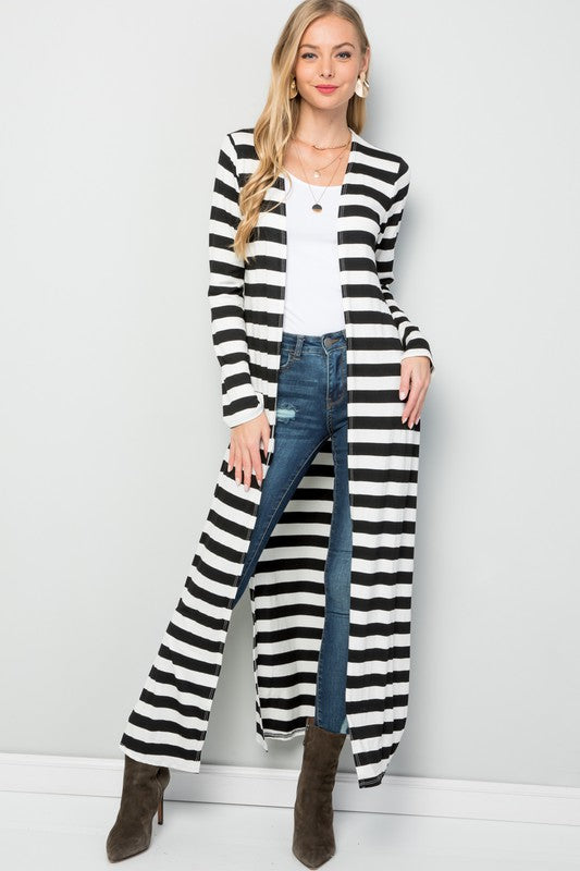 """Ole San Quentin"" Black & White Striped Duster Cardigan"