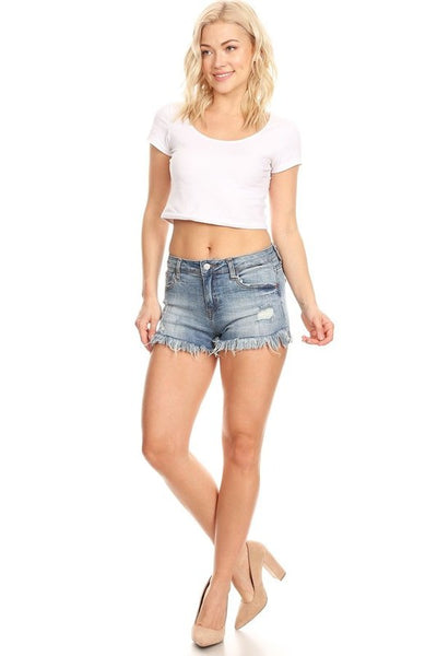 """Ole Betty Blues"" Distressed Denim Cut Off Jean Shorts ~ Medium/Dark Denim Wash"