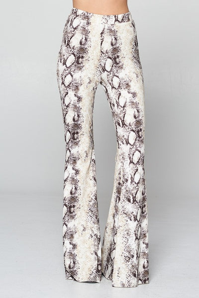 """Ole Holy Grail"" White Python Snakeskin Print Bell Bottoms"