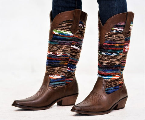 """Ole Stockyards"" Vintage Distressed Sweater Cowgirl Boots ~ Brown & Blue Multi Mix"