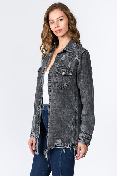 """Ole Georgia Blues"" Distressed Denim Button Up Shirt Jacket ~ Acid Wash Black/Charcoal"