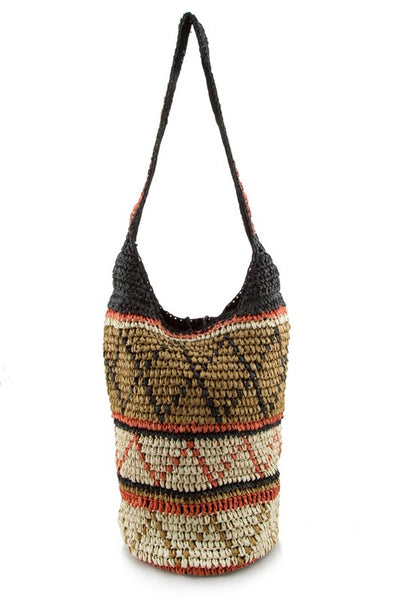 """Ole Zimbabwe"" Large Aztec Design Straw Hobo Bag"