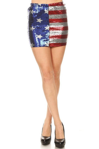 """Ole Land Of Liberty"" American Flag Sequin Mini Skirt"