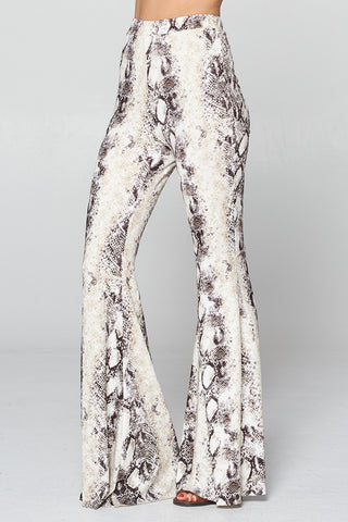"""Ole Holy Grail"" White Python Snake Print Bell Bottoms"