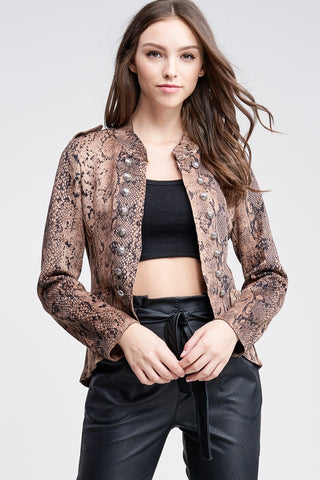 """Ole Front Lines"" Brown Python Snakeskin Print Military Button Suede Jacket"