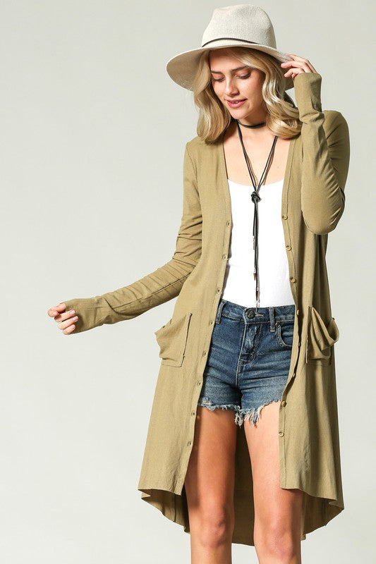 """Ole Ribbed Down"" Hi-Lo Button Up V Neck Cardigan &/or Dress ~ Light Olive Green"