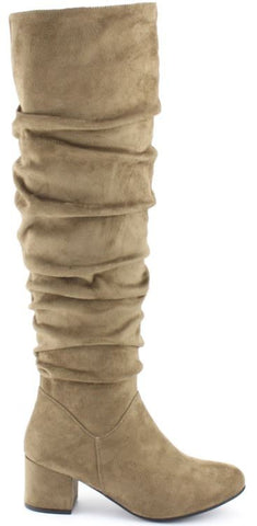 """Ole Wembley City"" Taupe Suede Slouchy Knee High Boots"
