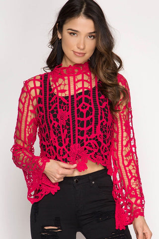 """Ole Dixieland Delight"" Raspberry Crochet Lace Bell Sleeve Crop Top"