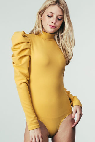 """Ole Queen of the North"" Pouf Sleeve Ribbed Bodysuit ~ Mustard"