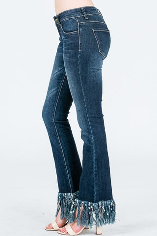 """Ole Best Fringe Forever"" Dark Wash Fringe Bottom Jeans"