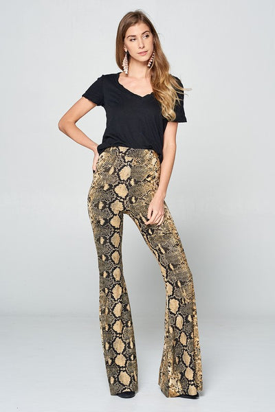 """Ole Mighty Python"" Golden Brown Python Snakeskin Print Bell Bottom"