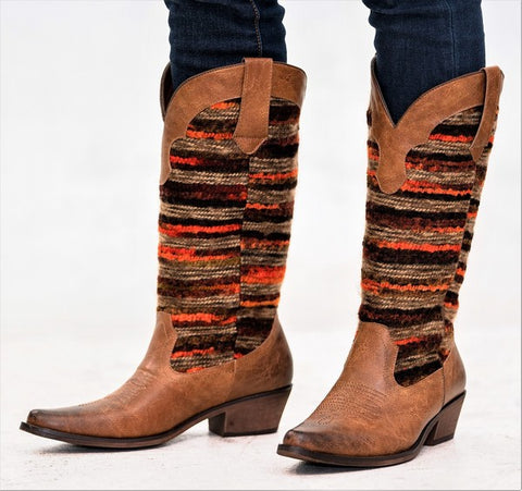 """Ole Stockyards"" Vintage Distressed Sweater Cowgirl Boots ~ Cognac & Orange Mix"