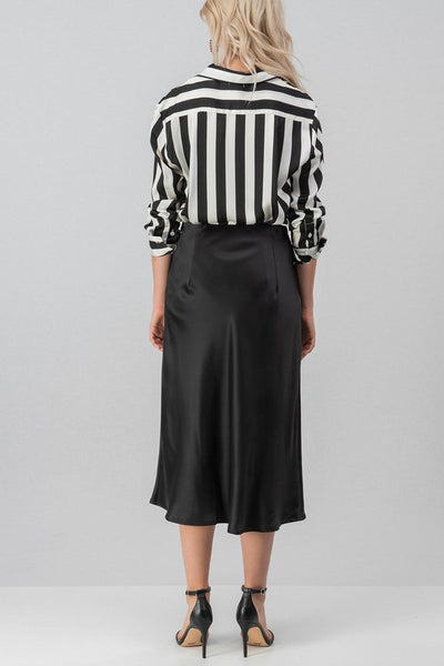 """Ole Prison Guard"" Black & White Stripe Textured Satin Button Up Blouse"