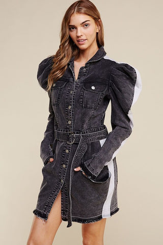 """Ole Midnight Rider"" Charcoal Black Acid Wash Denim Pouf Sleeve Dress &/or Long Jacket"