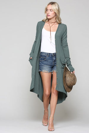 """Ole Ribbed Down"" Hi-Lo Button Up V Neck Cardigan &/or Dress ~ Dark Olive Green"