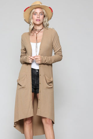 """Ole Ribbed Down"" Hi-Lo Button Up V Neck Cardigan &/or Dress ~ Camel Brown"