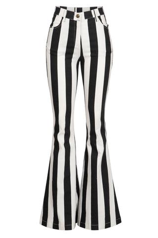 """Ole Jailbird"" Black & White Stripe Bell Bottom Pants"