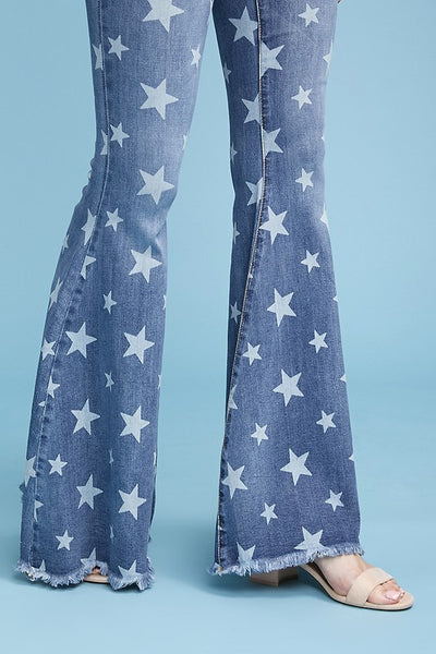 """Ole Starlight Star Bright"" Star Printed Denim Bell Bottom Flare Jeans"