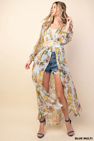 """Ole Jackie Blue"" Vintage Floral Crinkle Chiffon Maxi Dress Overlay &/or Duster Cardigan"
