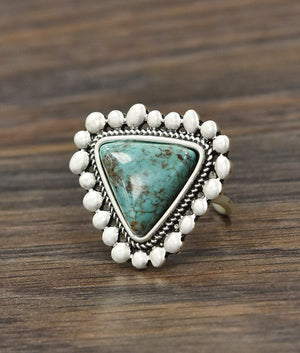 """Ole Love Triangle"" Turquoise & Silver Adjustable Ring"