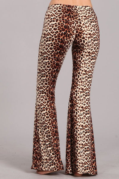 """Ole Cat's Meow"" Baby Leopard Print Bell Bottom Pants"