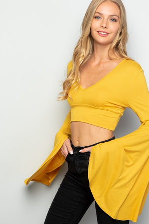 """Ole Sun Blossom"" Mustard Belle Sleeve Crop Top"