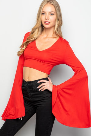 """Ole Cherry Bomb"" Red Belle Sleeve Crop Top"
