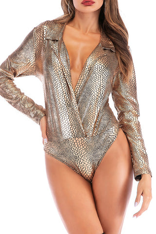 """Ole Golden Cobra"" Gold Metallic Textured Snakeskin Bodysuit"