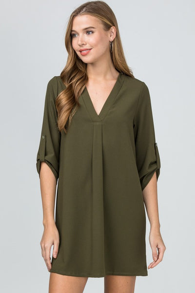 """Ole Sweet Valley High"" V Neck Tunic Style Dress &/or Top ~ OLIVE GREEN"