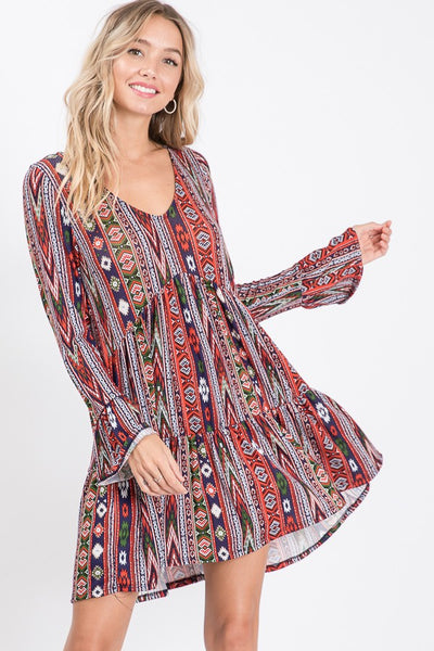 """Ole Sedona Skyline"" Aztec Print V Neck Ruffle Dress"