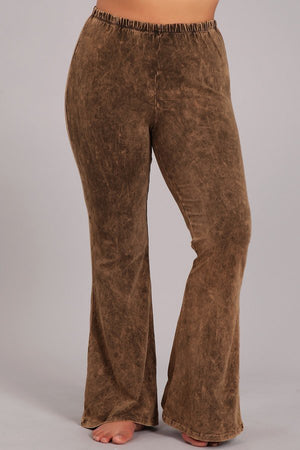 Chestnut Brown Mineral Washed Bell Bottom Pants