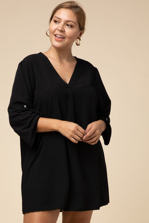 """Ole Sweet Valley High"" V Neck Tunic Style Dress &/or Top ~ BLACK"
