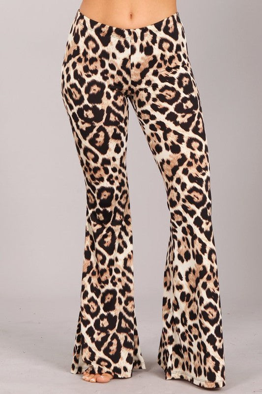 """Ole Bae Bee Kitty"" Jumbo Leopard Print Bell Bottom Pants"