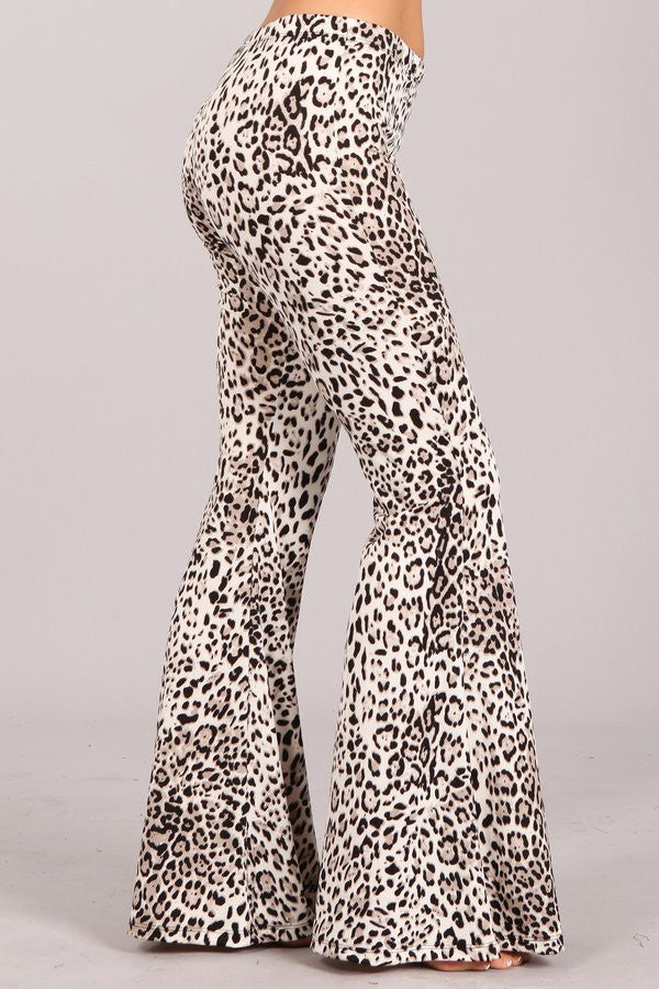 """Ole Snow Cat"" Black & White Leopard Print Bell Bottom Pants"