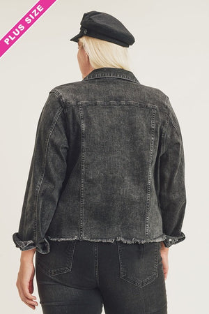 """Ole Jean Genie"" BLACK Denim Cut Off/Frayed Bottom Jean Jacket"