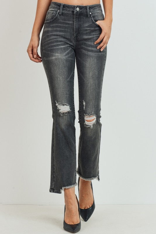 """Ole Smoke Show"" Distressed Charcoal Boot Cut Cropped Jeans"