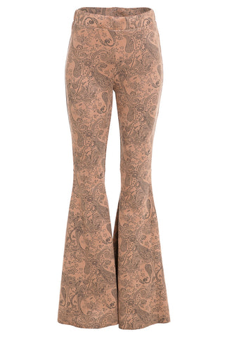 """Ole Calamity Jane"" Tooled Suede Leather Bell Bottom Pants"