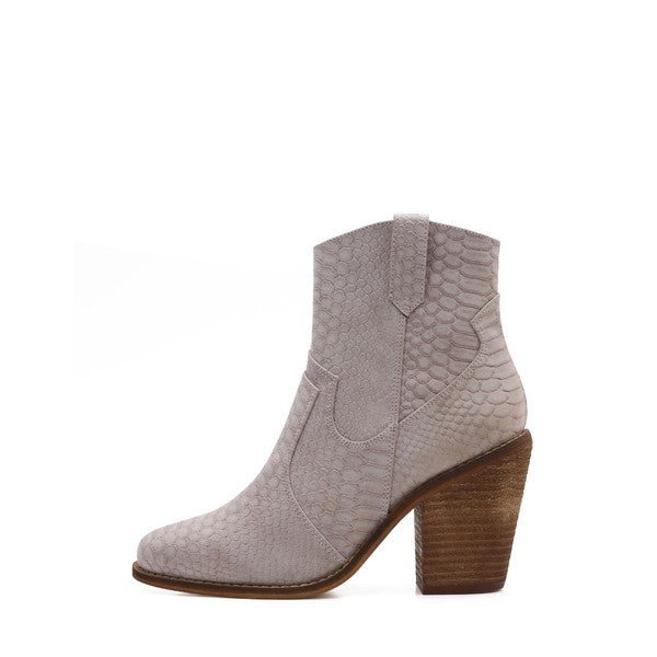 """Ole Lonesome Dove"" Grey Snakeskin Bootie"