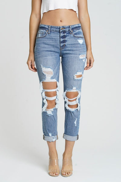 """Ole Rag Doll"" Medium Denim Wash Distressed Girlfriend Cropped Jeans"