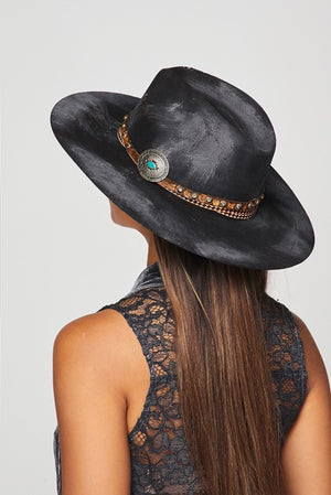 """Ole Dark Side of the Moon"" Distressed Black Bohemian Cowgirl Hat"