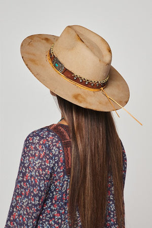 """Ole Desperado"" Distressed Khaki Bohemian Cowgirl Hat"